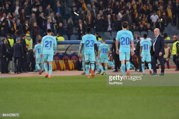 during the UEFA Champions League quarter final match between AS Roma and FC Barcelona at the Olympic stadium on April 10 2018 in Rome Italy
