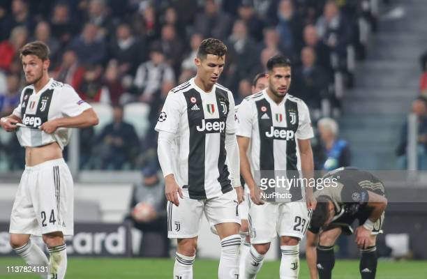 during the UEFA Champions League Quarter Final second leg match between Juventus and Ajax at Juventus Stadium on April 16 2019 in Turin Italy