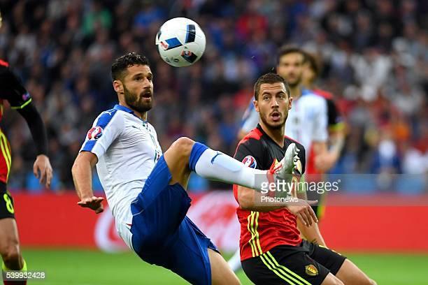 Barzagli Andrea defender of Italy Hazard Eden midfielder of BelgiumLYON FRANCE JUNE 13 during the UEFA EURO 2016 match group E between Belgium and...