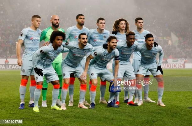 The team of Chelsea FC upper row Ross Barkley Willy Caballero Ruben LoftusCheek Andreas Christensen Ethan Ampadu Alvaro Morata bottom row Willian...