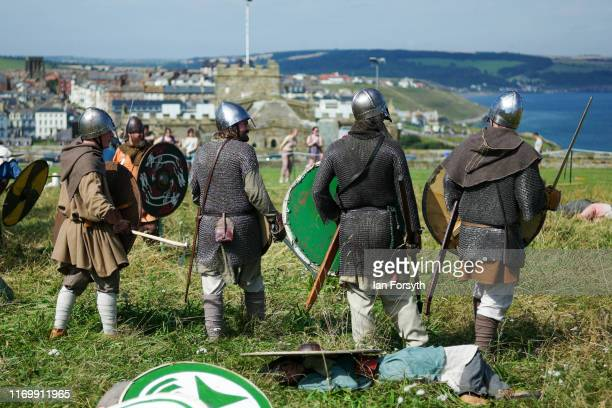 X during the Viking Festival at Whitby Abbey on August 24 2019 in Whitby England Temperatures are expected to climb over 30C in parts of the country...