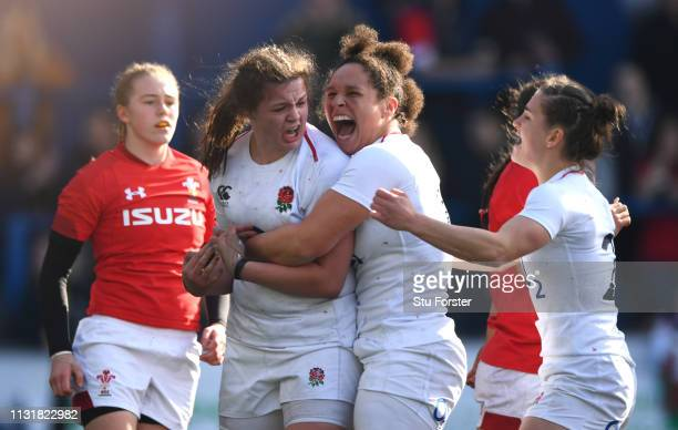 during the Wales Women v England Women match in the Women's Six Nations at Cardiff Arms Park on February 24 2019 in Cardiff Wales