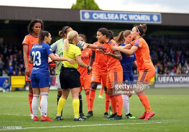 XXX during the Women UEFA Champions League semi final match between Chelsea and Olympique Lyonnais on April 28 2019 in Kingston upon Thames United...