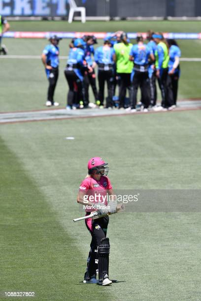 during the Women's Big Bash League match between the Adelaide Strikers and the Sydney Sixers at Adelaide Oval on December 31 2018 in Adelaide...