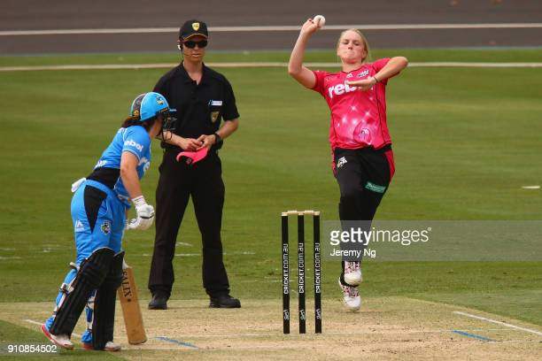 during the Women's Big Bash League match between the Adelaide Strikers and the Sydney Sixers at Hurstville Oval on January 27 2018 in Sydney Australia