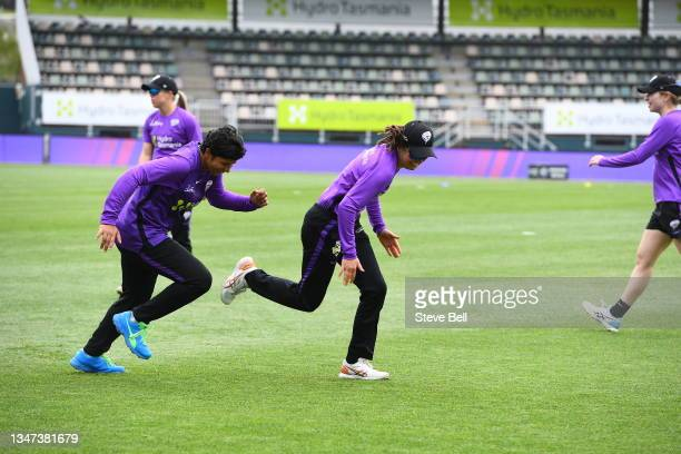 During the Women's Big Bash League match between the Melbourne Stars and the Hobart Hurricanes at Blundstone Arena, on October 19 in Hobart,...
