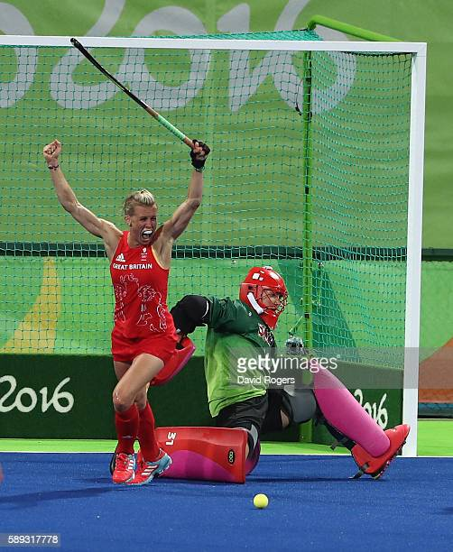 during the Women's group B hockey match between Great Britain and the USA on Day 8 of the Rio 2016 Olympic Games at the Olympic Hockey Centre on...