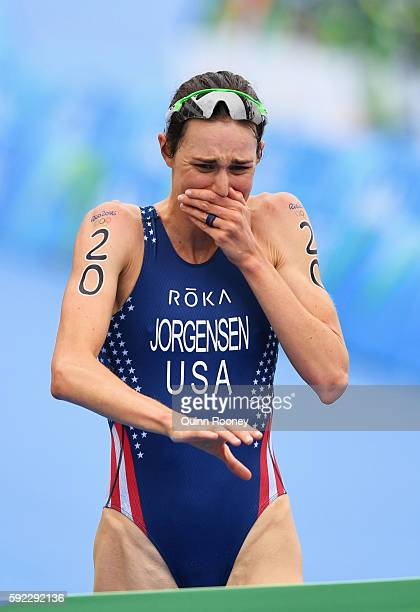 during the Women's Triathlon on Day 15 of the Rio 2016 Olympic Games at Fort Copacabana on August 20 2016 in Rio de Janeiro Brazil