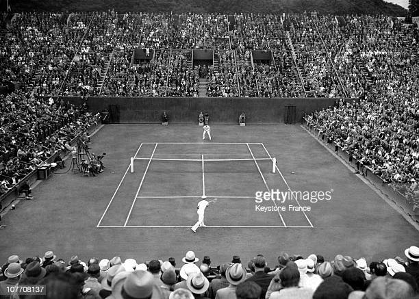 During Tyhe First Day Of The Davis Cup Final Jean Borotra Background Against Vines On July 29Th 1933