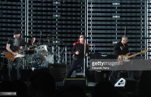 """During U2 """"Vertigo"""" Tour at Vicente Calderon Stadium in Madrid - August 11, 2005 at Vicente Calderon Stadium in Madrid, Spain."""