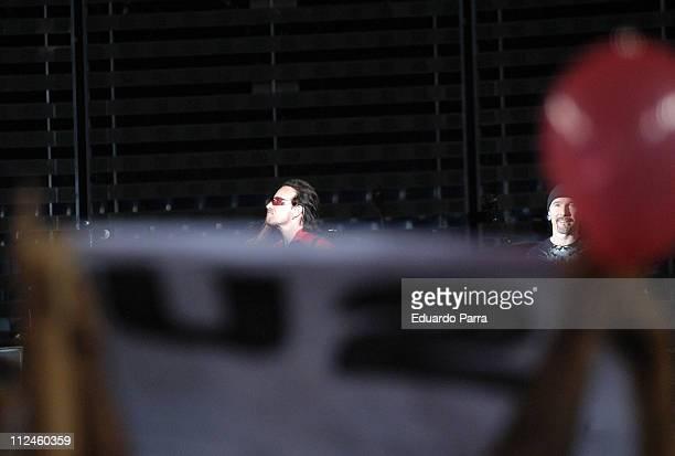 U2 during U2 'Vertigo' Tour at Vicente Calderon Stadium in Madrid August 11 2005 at Vicente Calderon Stadium in Madrid Spain
