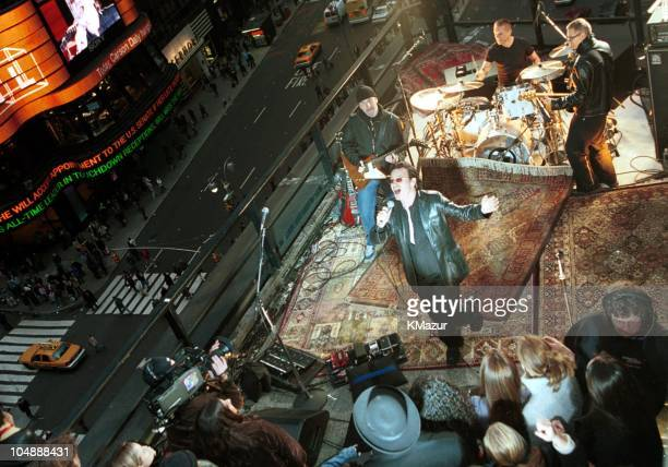 U2 during U2 Visit MTV's TRL October 30 2000 at Times Square in New York City New York United States