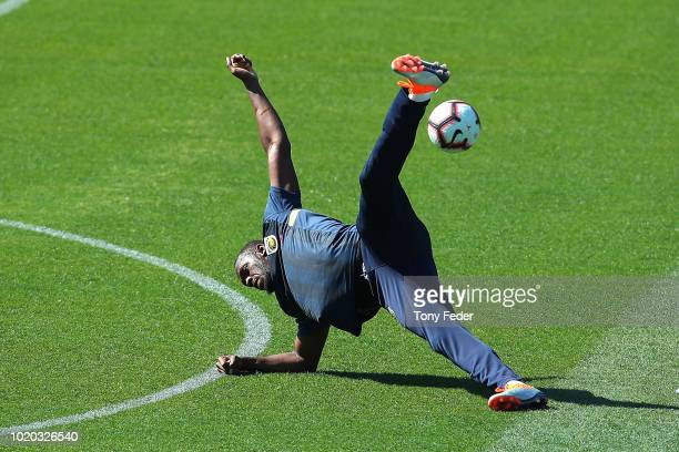 Soccer fans get a sneak peek during Usain Bolt's first training session with the Central Coast Mariners ALeague squad at Central Coast Stadium on...
