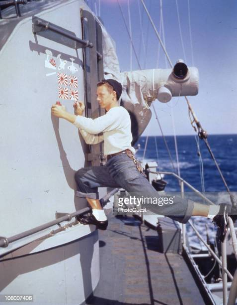 During World War II in the Pacific theater victory markings are applied to a gun director on an unidentified destroyer at sea ca 1944 She appears to...
