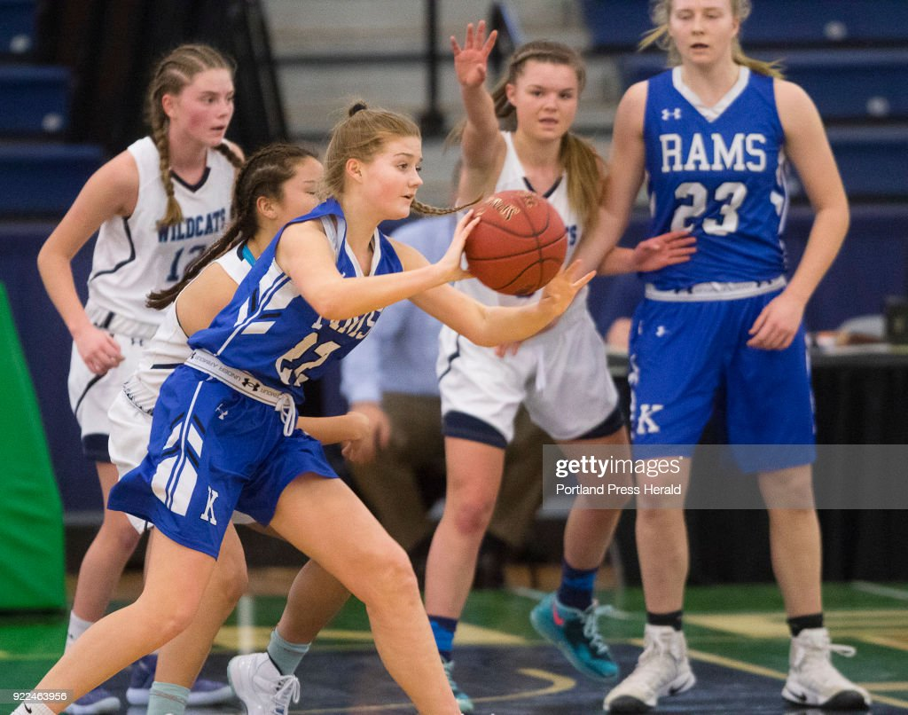 durinKennebunks passes in heavy traffic against York in the Maine Class A South quarterfinals on Monday, February 19, 2018 at the Portland Expo.