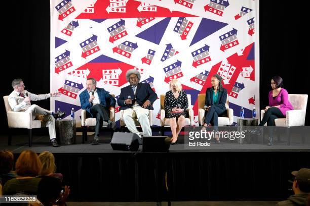 JD Durkin David Frum Elie Mystal Jill WineBanks Maya Wiley and Nayyera Haq speak onstage during day 2 of Politicon 2019 at Music City Center on...