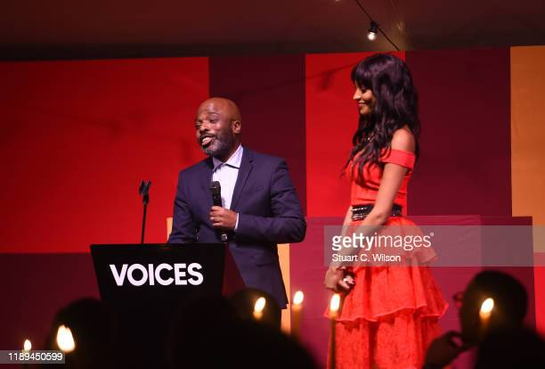 Duro Olowu and Jourdan Dunn on stage at the gala dinner in honour of Edward Enninful winner of the Global VOICES Award 2019 during #BoFVOICES on...