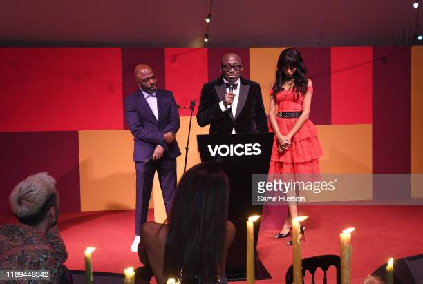 Duro Olowu and Jourdan Dunn present Edward Enninful with the Global VOICES Award 2019 during the gala dinner at #BoFVOICES on November 22 2019 in...