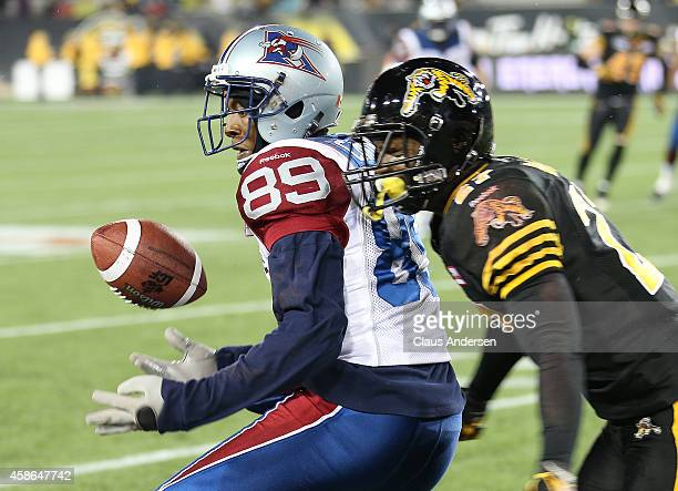 Duron Carter of the Montreal Alouettes drops a ball against the Hamilton TigerCats in a CFL football game at Tim Hortons Field on November 8 2014 in...