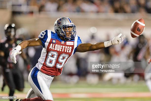 Duron Carter of the Montreal Alouettes misses a pass during the CFL game against the Ottawa Redblacks at Percival Molson Stadium on August 29 2014 in...