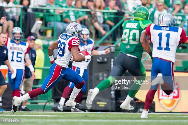 Duron Carter of the Montreal Alouettes on his way to a touchdown after a missed field goal in a game between the Montreal Alouettes and Saskatchewan...