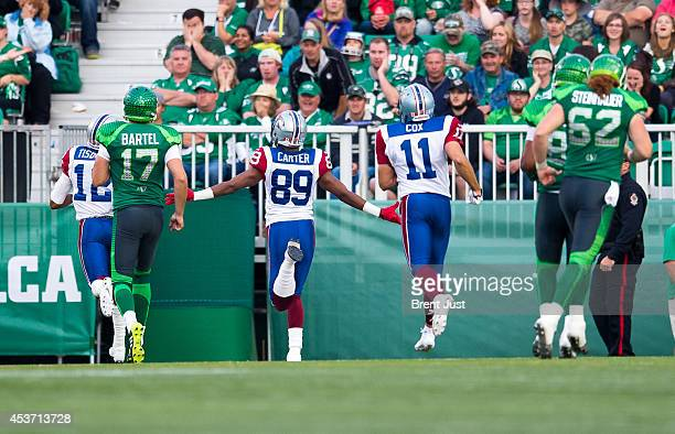 Duron Carter of the Montreal Alouettes runs back a missed field goal for a touchdown in a game between the Montreal Alouettes and Saskatchewan...