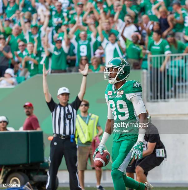 Duron Carter of the Saskatchewan Roughriders after making a touchdown catch in the game between the Toronto Argonauts and Saskatchewan Roughriders at...