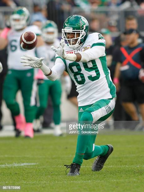 Duron Carter of the Saskatchewan Roughriders celebrates after a pass reception against the Toronto Argonauts during a game at BMO field on October 7...