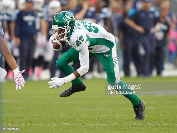 Duron Carter of the Saskatchewan Roughriders gains yards after a pass reception against the Toronto Argonauts during a game at BMO field on October 7...