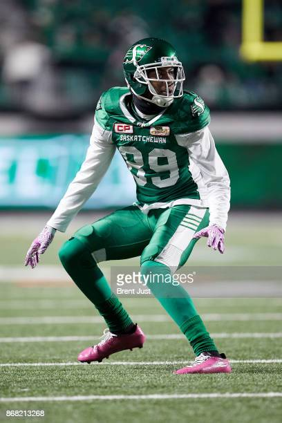 Duron Carter of the Saskatchewan Roughriders playing defensive back in the game between the Montreal Alouettes and Saskatchewan Roughriders at Mosaic...