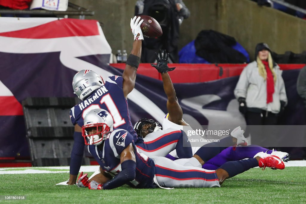 72dc9ea8ff7 Duron Harmon of the New England Patriots intercepts a pass in the ...