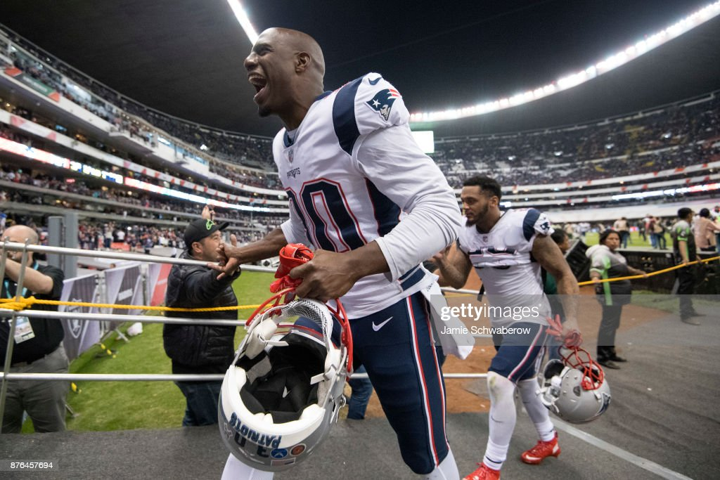 Duron Harmon #30 of the New England Patriots runs off the field after defeating the Oakland Raiders at Estadio Azteca on November 19, 2017 in Mexico City, Mexico.