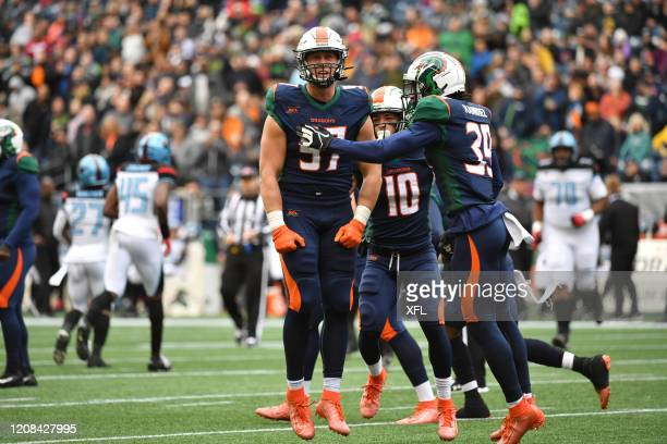 Durrant Miles of the Seattle Dragons celebrates during the XFL game against the Dallas Renegades at CenturyLink Field on February 22, 2020 in...