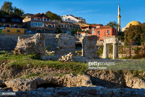 durres romana amphiteatre in albania - amphitheatre stock photos and pictures