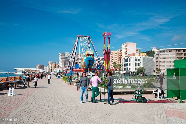 Durres seafront promenade with amusement rides