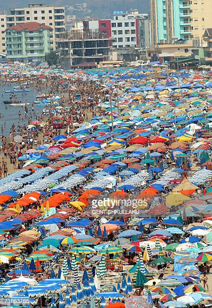 A view of the crowded beach in the Albanian Adriatic sea in the city of Durres 17 August 2006 Hot weather conditions have reached a peak of 36...