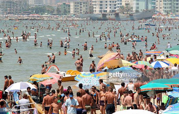 A view of the crowded beach in the Albanian Adriatic sea in the city of Durres 25 July 2007 Hot weather conditions have reached a peak of 40 degrees...