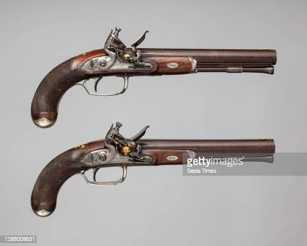 Durs Egg, Pair of Flintlock Pistols of the Prince of Wales, later George IV , British, London, hallmarked for 1793–94, Steel, wood , silver, gold,...