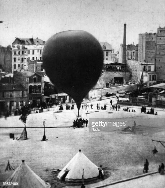 Duruof's balloon Neptune being inflated at Place St Pierre Montmartre supervised by GaspardFelix Nadar for a reconnaissance mission 23rd September...