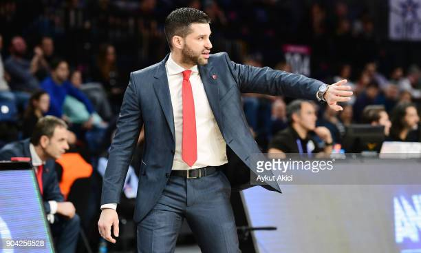 Dusan Alimpijevic Head Coach of Crvena Zvezda mts Belgrade in action during the 2017/2018 Turkish Airlines EuroLeague Regular Season Round 17 game...