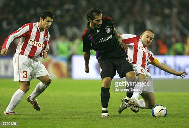 Dusan Andjelkovic and Ognjen Koroman of Belgrade and Hamit Altintop of Bayern in action during the UEFA Cup group F match between Crvena Zvezda and...
