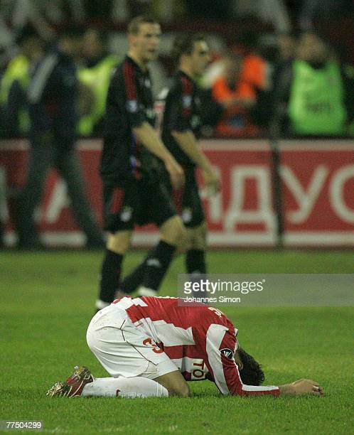 Dusan Andjelkovic of Belgrade shows his disappointment after loosing the UEFA Cup group F match between Crvena Zvezda and Bayern Munich at Crvena...