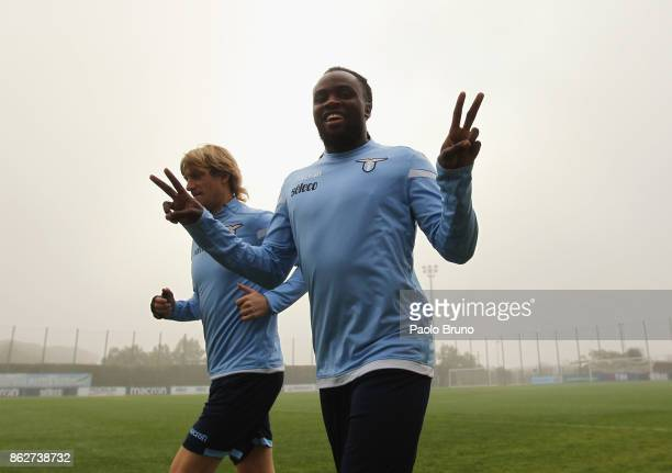 Dusan Basta and Jordan Lukaku of SS Lazio react during the SS Lazio training session on October 18 2017 in Rome Italy