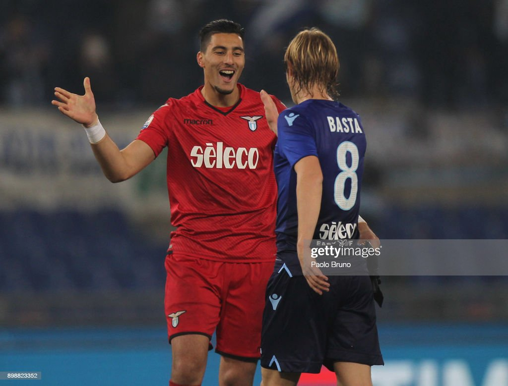 Dusan Basta and Thomas Strakosha of SS Lazio celebrate after the TIM Cup match between SS Lazio and ACF Fiorentina at Olimpico Stadium on December 26, 2017 in Rome, Italy.