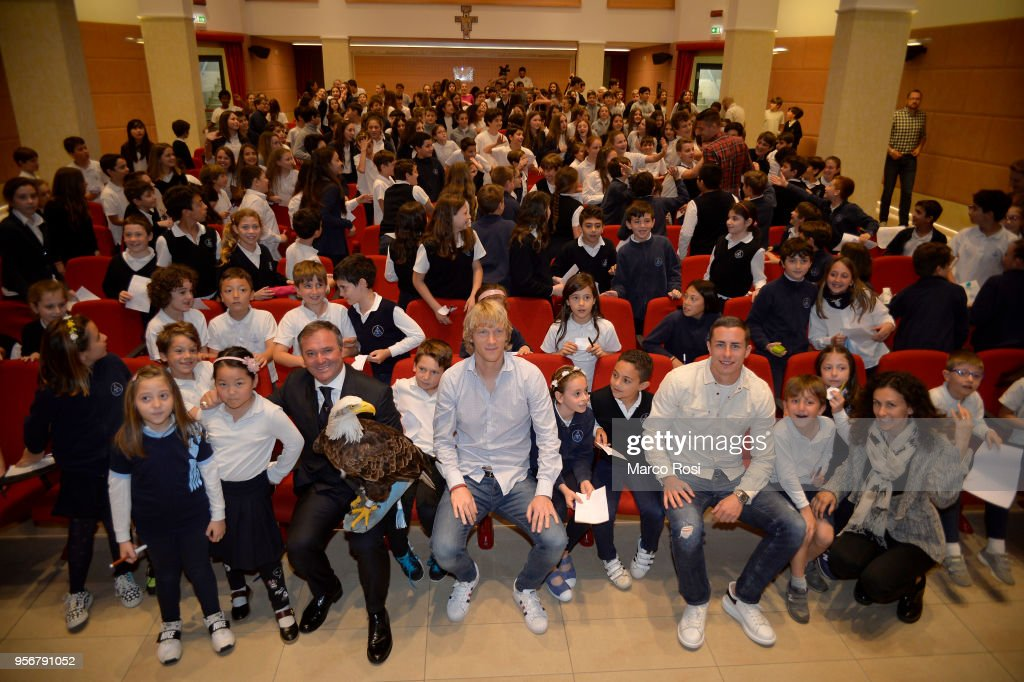 Dusan Basta nad Adam Marusic of SS Lazio meet students during a visit to Asisium school on May 10, 2018 in Rome, Italy.
