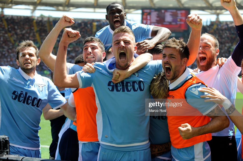 Dusan Basta of SS Lazio celebrates a second goal with his team mates during the Serie A match between AS Roma and SS Lazio at Stadio Olimpico on April 30, 2017 in Rome, Italy.