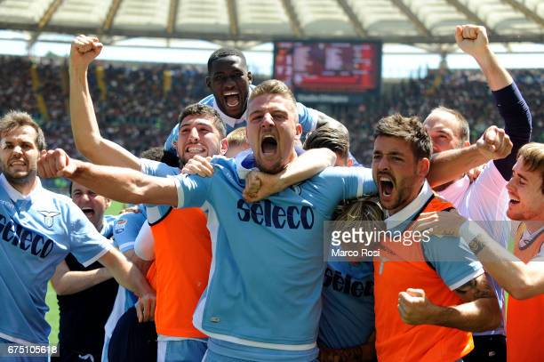 Dusan Basta of SS Lazio celebrates a second goal with his team mates during the Serie A match between AS Roma and SS Lazio at Stadio Olimpico on...