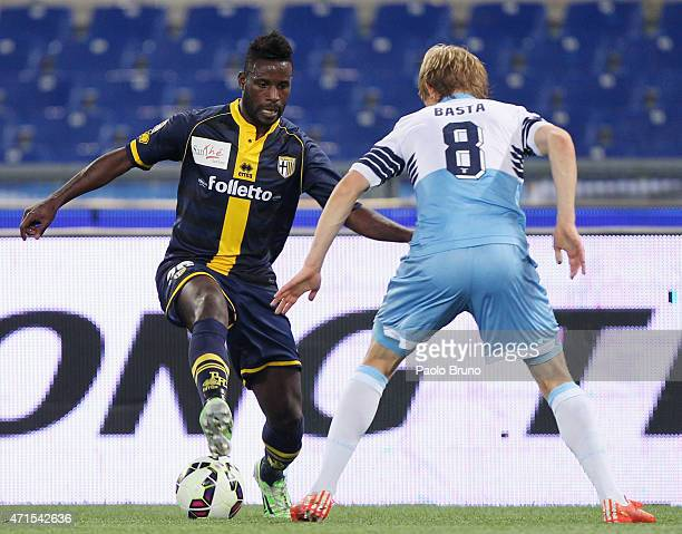 Dusan Basta of SS Lazio competes for the ball with Silvestre Varela of Parma FC during the Serie A match between SS Lazio and Parma FC at Stadio...