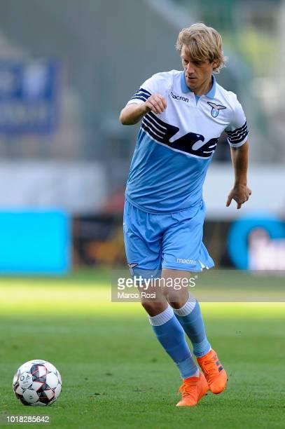 Dusan Basta of SS Lazio in actin during the Borussia Dortmund v Lazio PreSeason Friendly at the Essen Stadium on August 12 2018 in Essen Germany