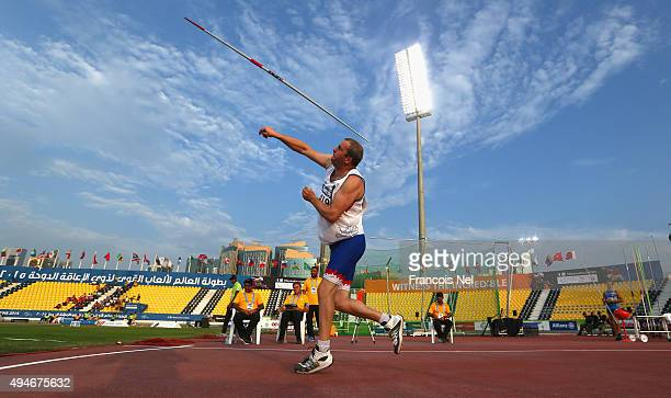 Dusan Grezl of Czech Republic competes in the men's javelin F38 final during the Evening Session on Day Seven of the IPC Athletics World...